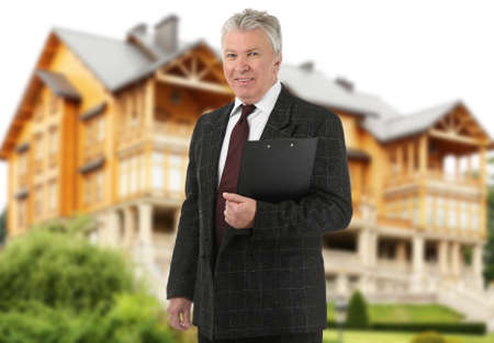 Insurance broker and building on background