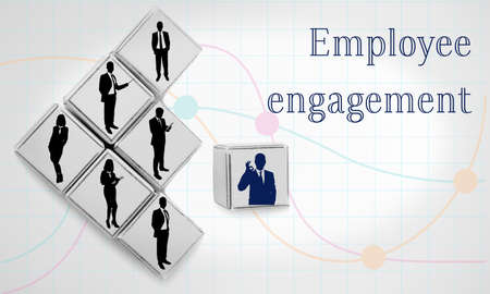 Wooden cubes with icons on light background. Concept of employee engagement