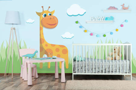 Interior of modern baby room