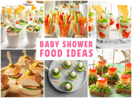 Collage with baby shower food ideas