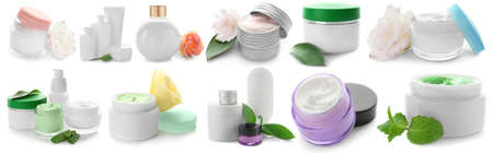 Set of cosmetic for skin care on white background Фото со стока
