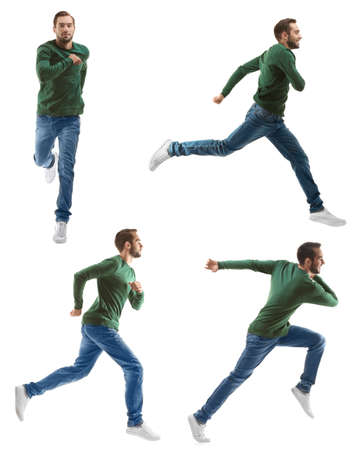 Collage with running man on white background Stock Photo
