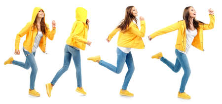Collage with running woman on white background Stock Photo
