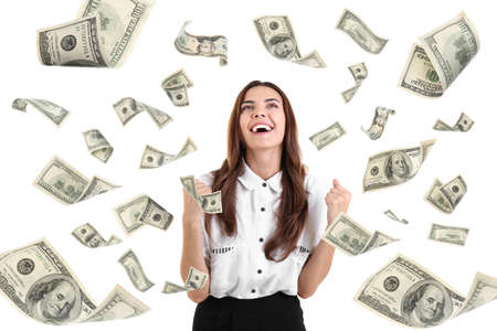 Young woman with money on white background