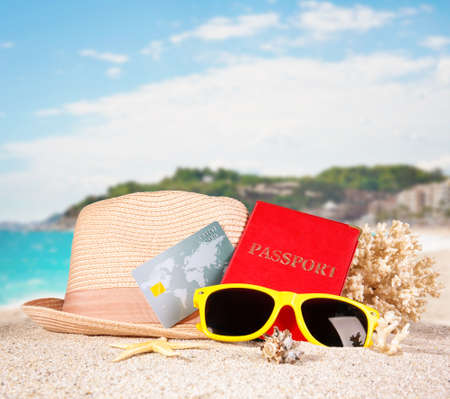 Composition with credit card on tropical beach Stock Photo