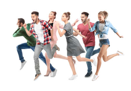 Group of running people on white background Stock Photo