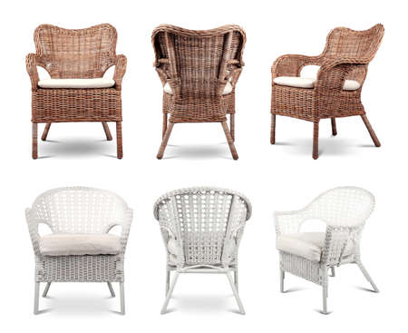 Collage with different armchairs on white background Stock Photo