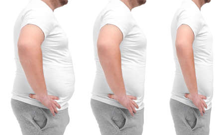 Overweight man before and after weight loss on white background