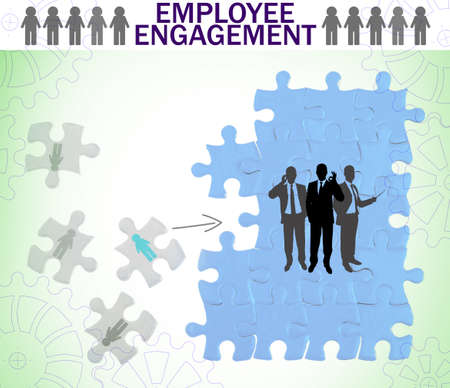 Puzzle with icons on light background. Concept of employee engagement