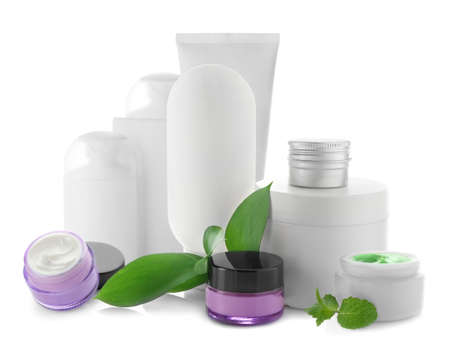 Set of cosmetic for skin care on white background