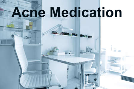 Beauty and acne medication concept. Modern cosmetologist cabinet