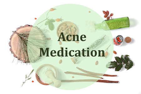 Beauty and skin care concept. Ingredients for preparing acne medication cosmetic on white background