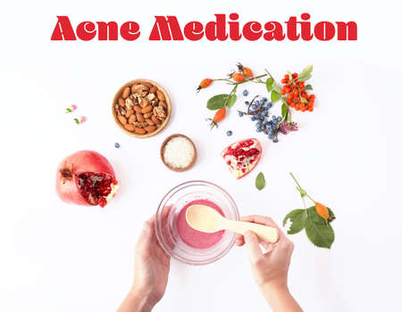 Beauty and skin care concept. Woman preparing acne medication cosmetic on white table