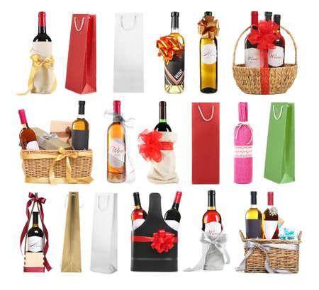 흰색 배경에 축제 장식과 와인 선물 세트 % 00