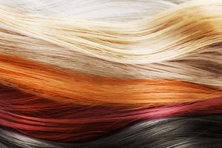 Colorful hair background. Hairstyles and care concept Stok Fotoğraf