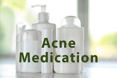 Beauty and skin care concept. Acne medication cosmetic on table