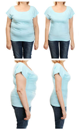 Mature womans body before and after weightloss on white background. Health care and diet concept.