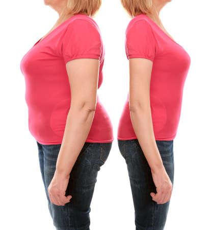 白い背景に減量の前後に成熟した女性の体.ヘルスケアとダイエットのコンセプト。 写真素材 - 90841390