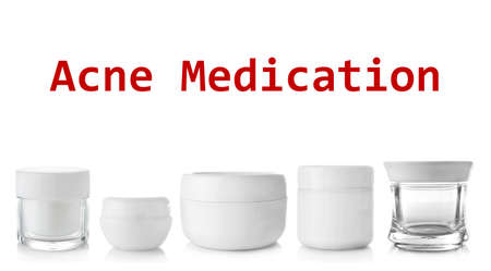 Beauty and skin care concept. Acne medication cosmetic on white background
