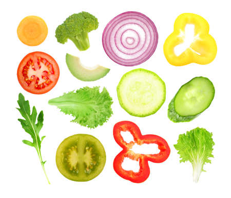 Vegetables slices on white background 免版税图像 - 91103695