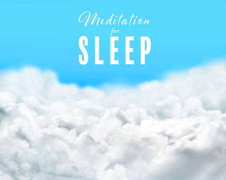 Concept of music for sleep and meditation. White clouds on blue sky