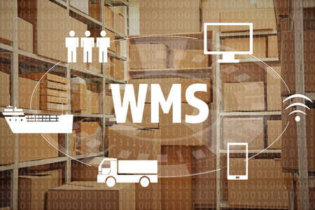 Warehouse management system concept. Shelves with boxes