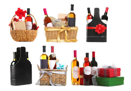 Set of wine gifts with festive decor on white background Stok Fotoğraf
