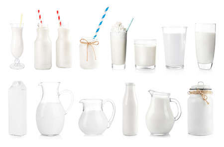 Fresh milk in different dishware on white background