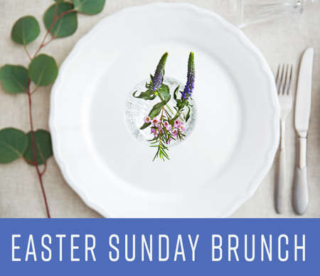 Text EASTER SUNDAY BRUNCH on background. Elegant table setting with floral decor Stock Photo