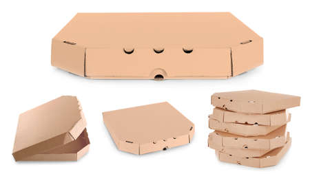 Different views of pizza box on white background Stock Photo