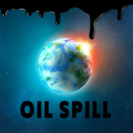 Oil spills concept. View of Earth in space