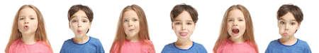 Speech training concept. Little children doing exercises for correct pronunciation on white background