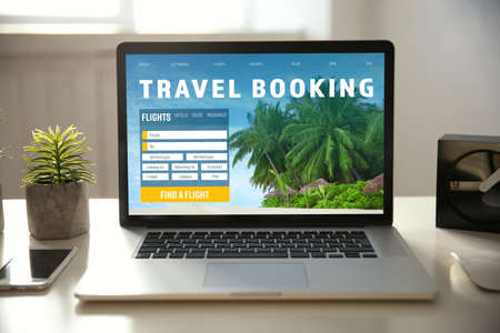 Travel concept. Page of website for planning trip on laptop screen