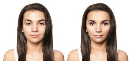 Young woman before and after makeup application on white background Stock Photo