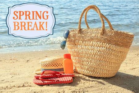 Spring break concept. Sun protection set on beach Stock Photo