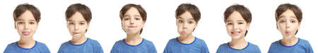 Speech training concept. Little boy doing exercises for correct pronunciation on white background Фото со стока