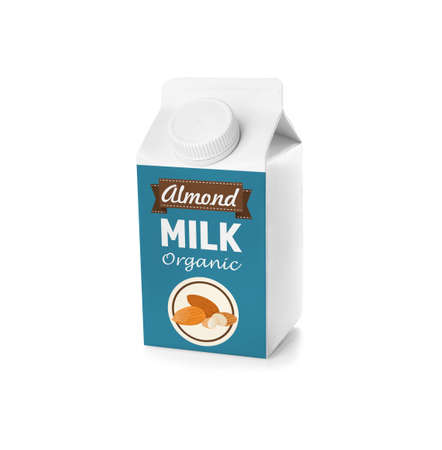 Pack of almond milk on white background
