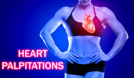 Health care concept. Text HEART PALPITATIONS and woman on background Stock Photo