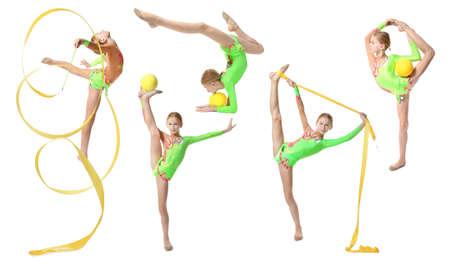 Girl doing gymnastics exercises on white background