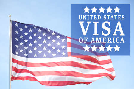 Text VISA UNITED STATES OF AMERICA and USA flag on sky background Stock fotó - 91110025