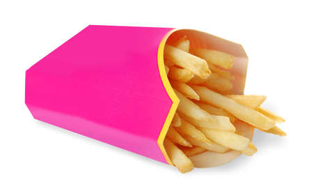 Carton box with delicious French fries on white background