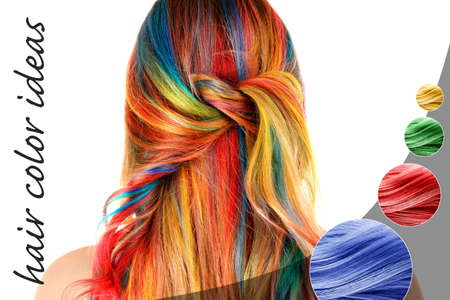 Trendy hairstyle ideas. Young woman with colorful dyed hair on white background Stockfoto