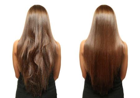 Mujer antes y después del tratamiento del cabello en el fondo blanco