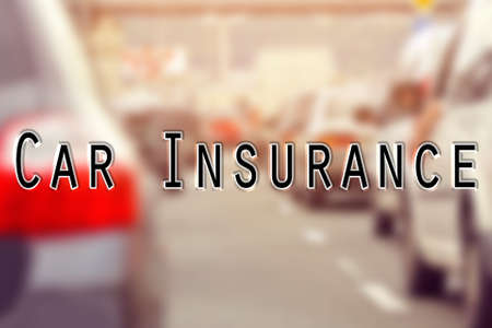 Text CAR INSURANCE on blurred background