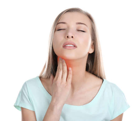 Allergies and sore throat concept. Sick young woman on white background