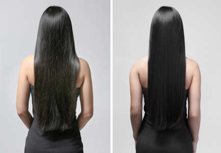 Woman before and after hair treatment on gray background Stock fotó