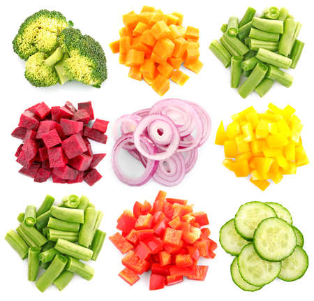 Variety of chopped vegetables on white background
