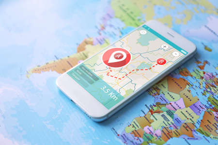 Modern technology and tourism concept. Map application for smartphone