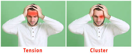Young man with different types of headache on color background Stock Photo