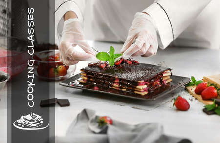 Cooking classes concept. Chef decorating cake with mint, closeup Banque d'images